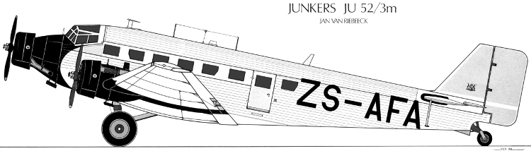South Africa Airways Museum Society ZS-AFA Junkers Ju-52 SAA drawing
