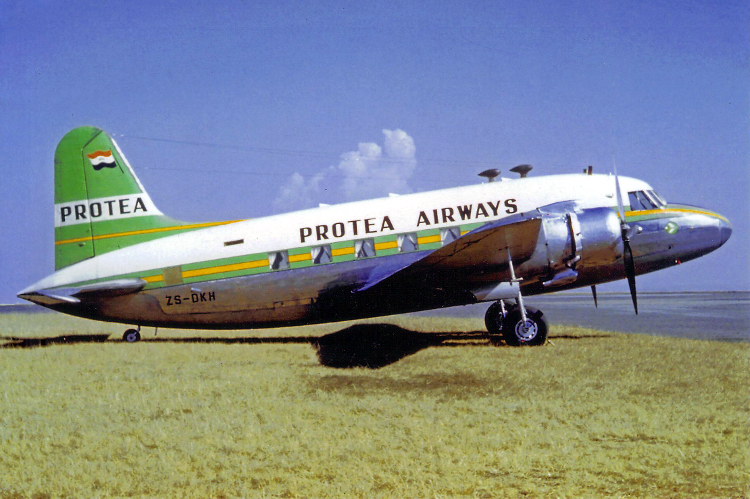 ZS-DKH Peter Keating Viking Protea Airways Rand Airport June 1961 colour scan-750